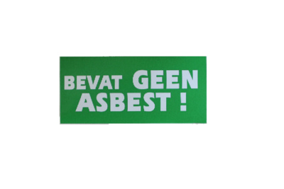 Sticker bevat geen asbest